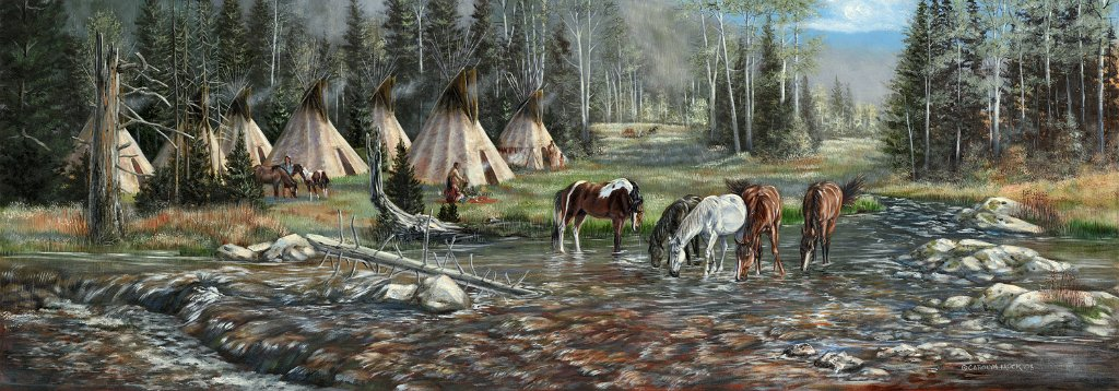 Native Americans camped by water with their horses