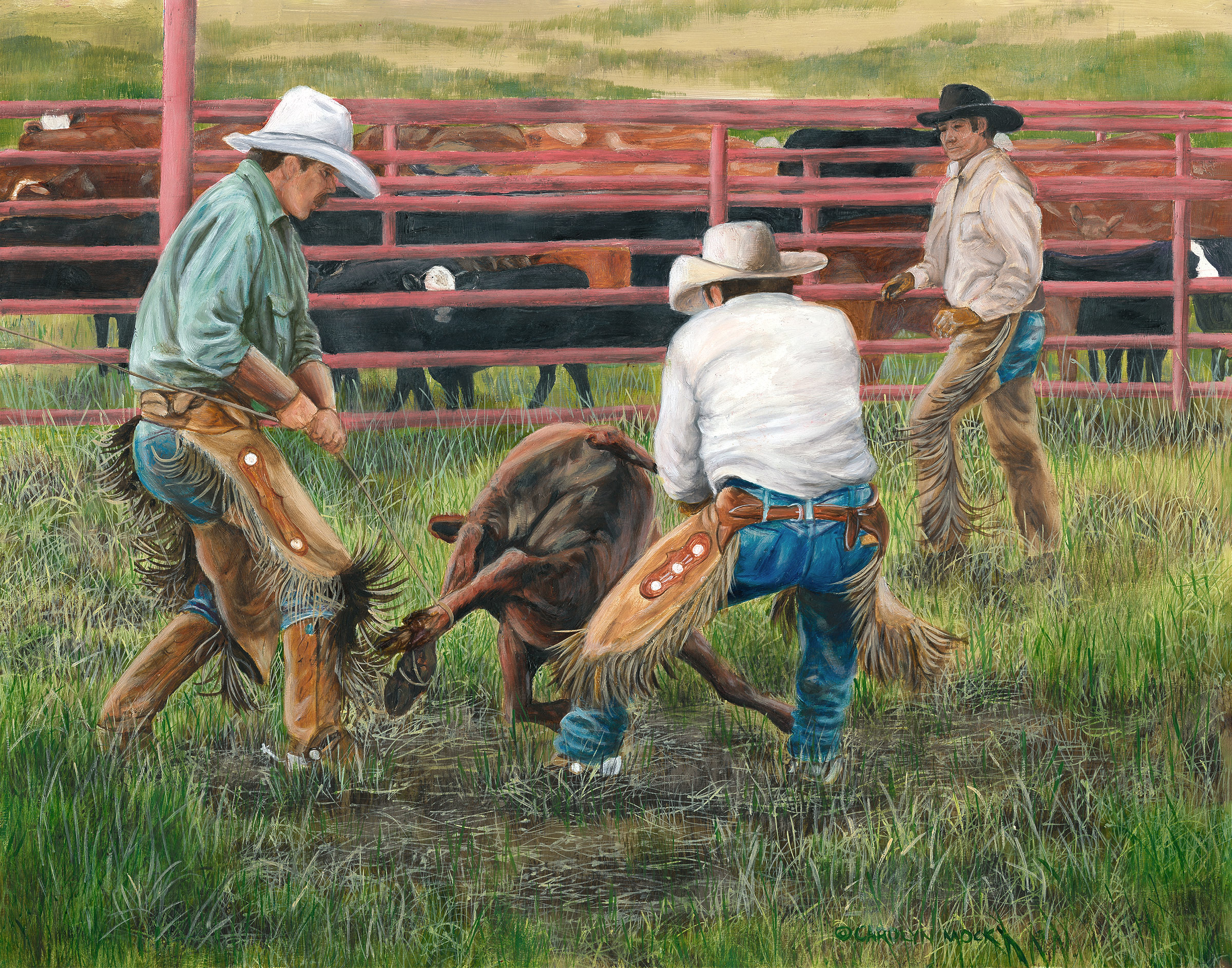 Three cowboys tie up a calf