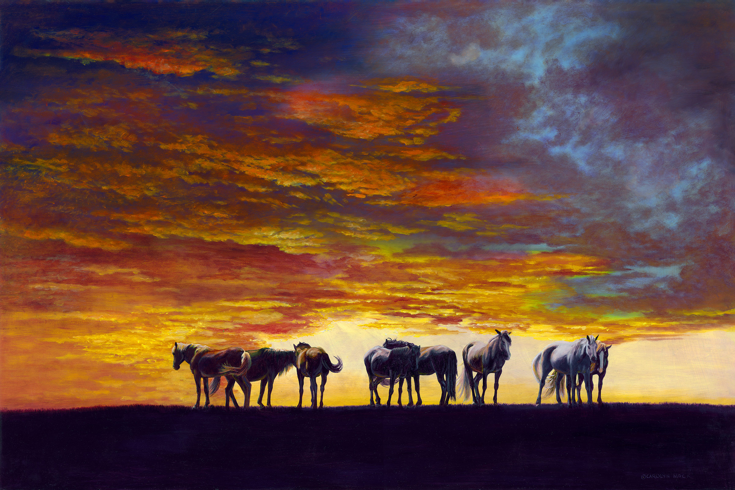 A herd of horses graze at sunset