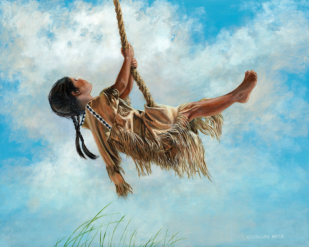 A Native American girl swings above grass