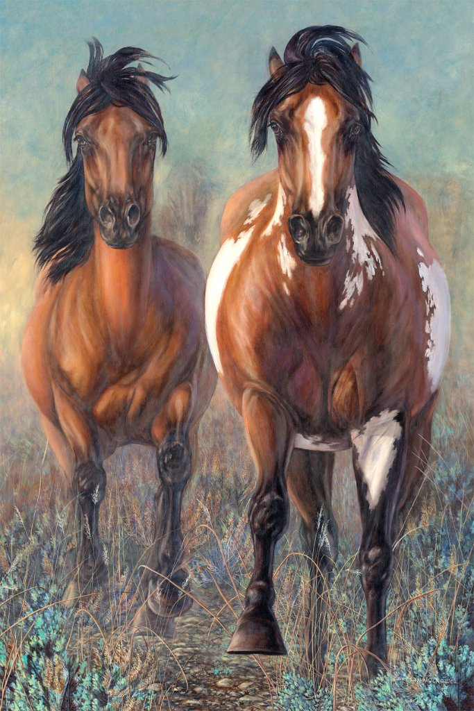 Two horses stand in an open field