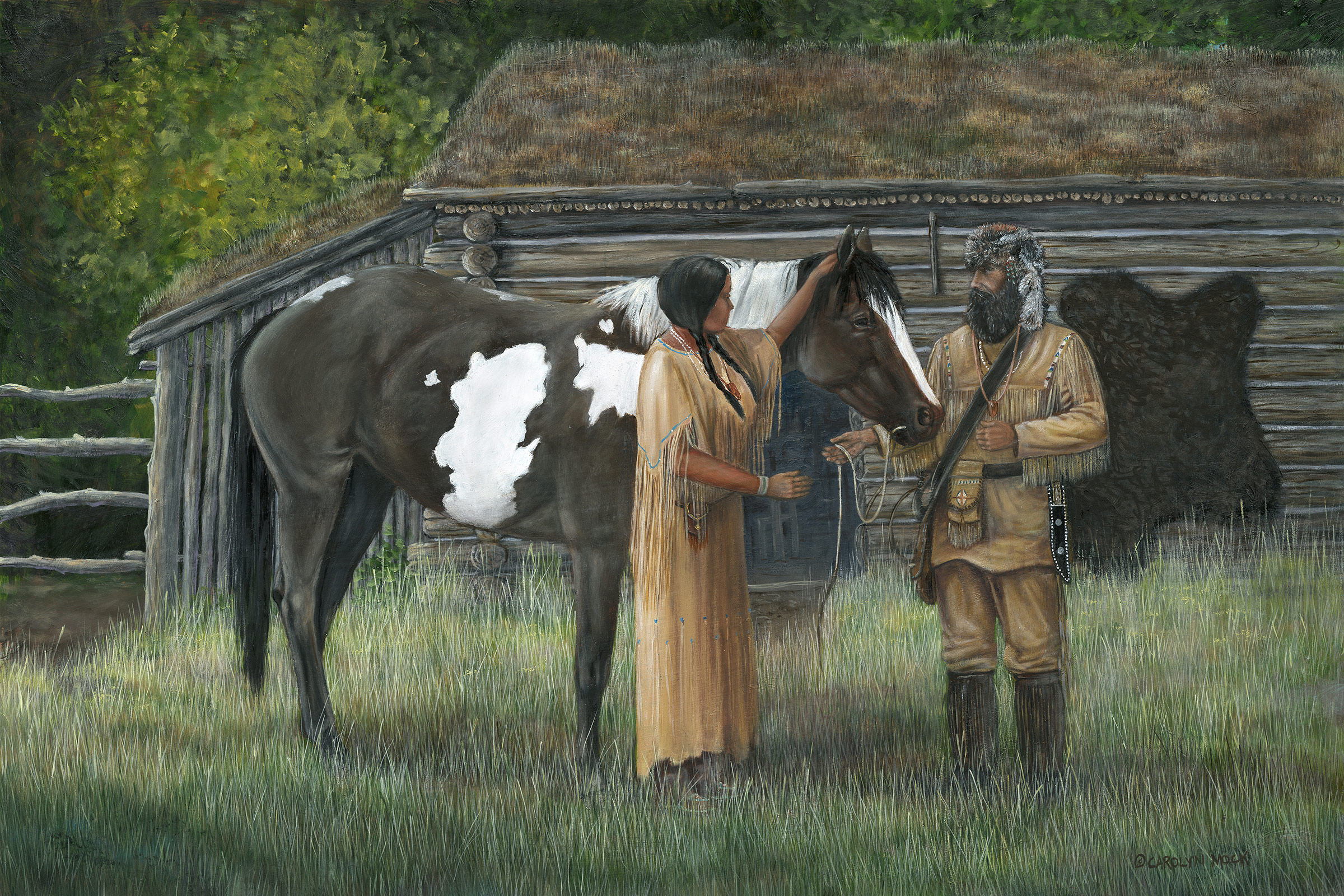 A Native American woman is gifted a horse