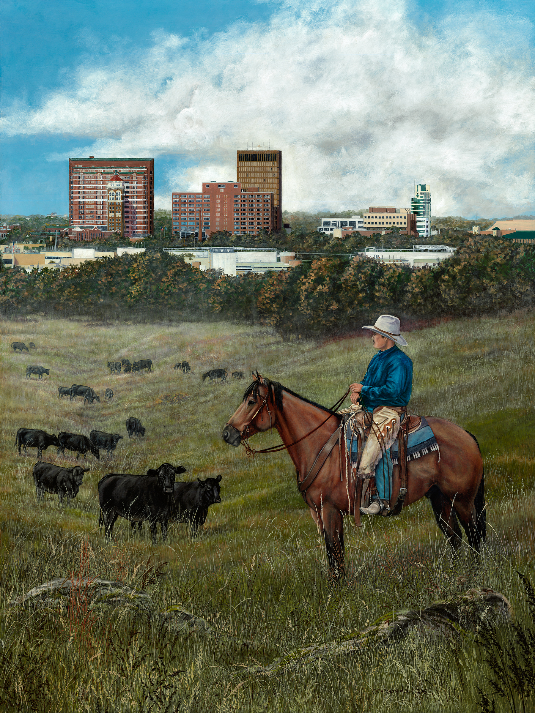 A cowboy watches over his cattle, as a city looms in the background