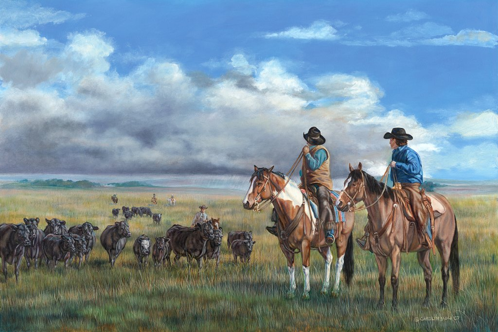 Two cowboys prepare for a storm while herding cattle