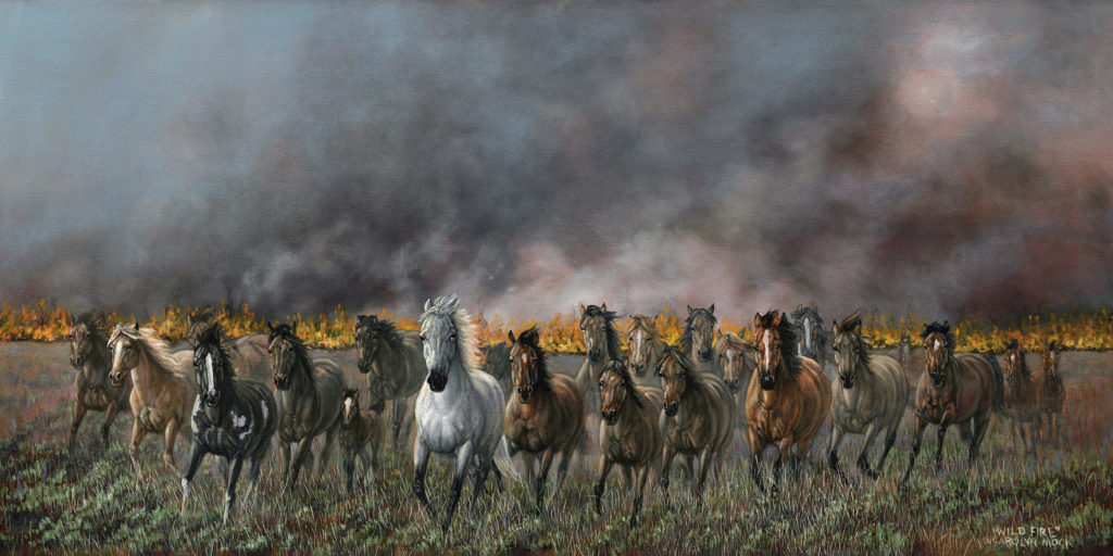 Horses run as the field behind them is consumed by fire